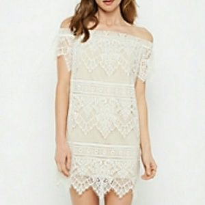 Off-the-Shoulder Lace Overlay Dress